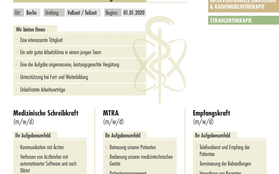 Medizinische Schreibkraft für die Strahlentherapie (m/w/d)